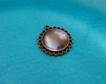 2 pcs Antique bronze cabochon settings cameo base blank round tray pendant charms jewellery settings findings