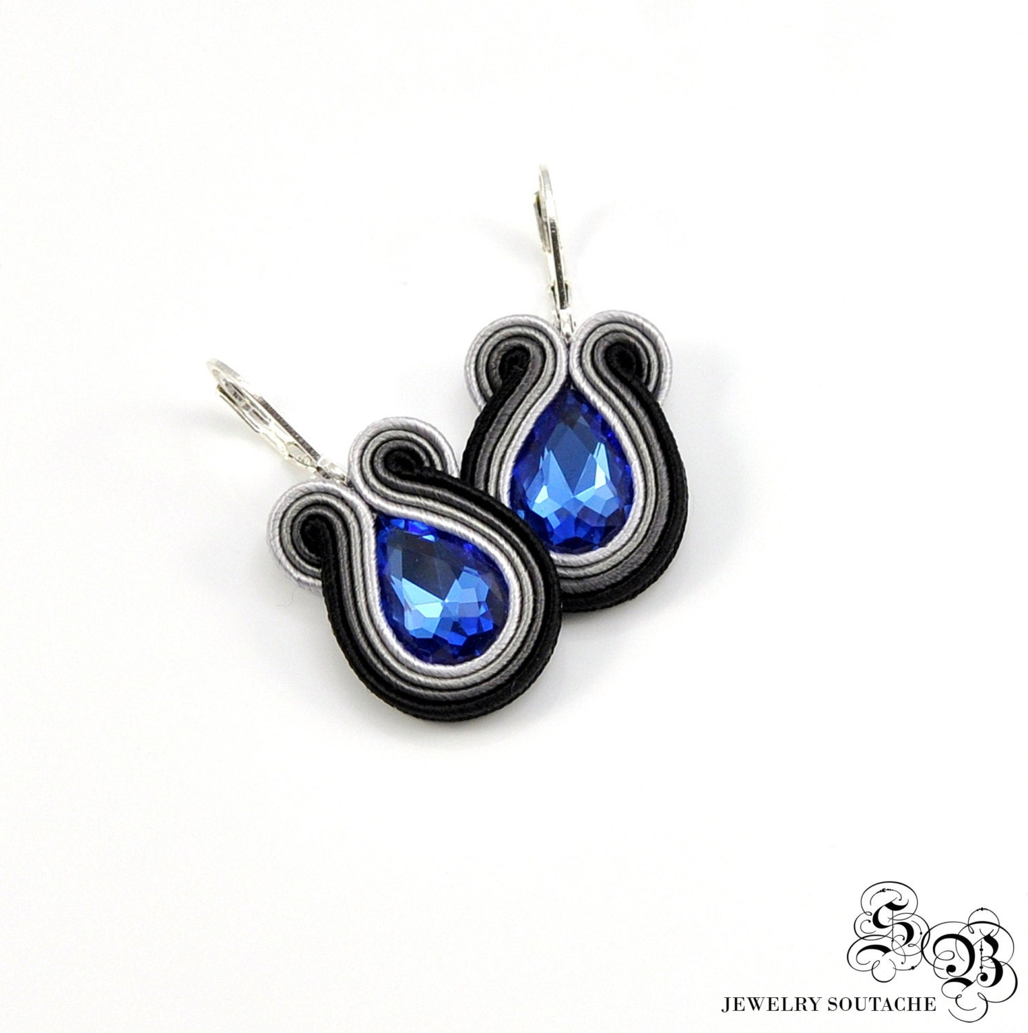 Small Blue Earrings: Small Black Gray Blue Soutache Earrings By SBjewelrySoutache