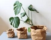 Brown Kraft Paper bag, washable paper storage bag, basket, bin, planter, hamper, pot, paper vase, natural, rustic, cottage