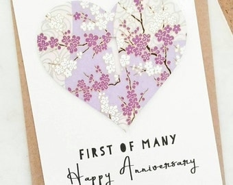 First Wedding Anniversary Card, First of Many, 1st Anniversary Card, One Year Anniversary, Paper Anniversary Gift for Couple, 365 days