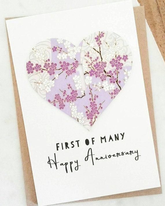 First wedding anniversary card first of many 1st anniversary for 1st wedding anniversary gift paper