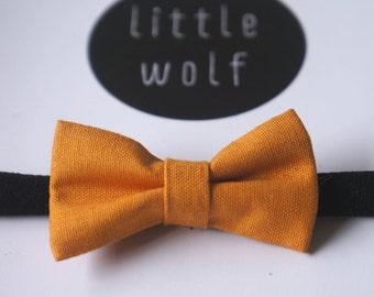 Mustard Yellow Bow Nylon Baby Headband