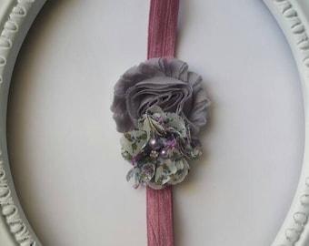 Grey Dusty Rose Shabby Chiffon Headband