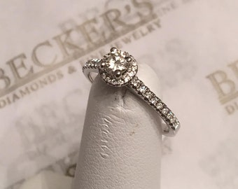 Vintage 14k white gold 35 Round Diamond Halo Style Engagement Ring .39 tw HI-SI1,2, size 6.75