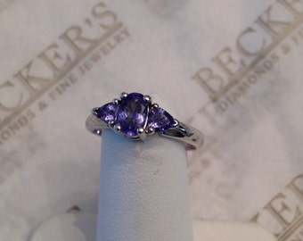 Vintage 14k white gold Oval and 2 Trillion Cut Tanzanite Ring, .75 tw, size 6