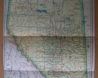 Vintage 1927 Map of Alberta, Canada