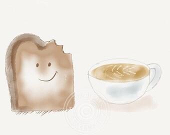 Coffee greeting card, coffee cup and toast