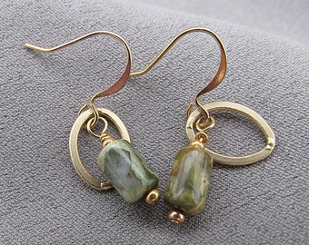 Green Unakite and 14k Gold Filled Earrings//Dangles