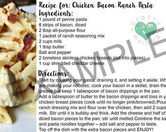Printable Chicken Bacon Ranch Pasta Recipe Card