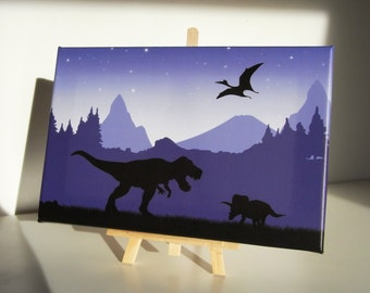 Table stretched canvas dinosaurs - Canvas painting dinosaurs