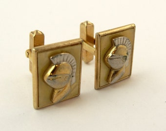 Vintage SWANK 1950s Cufflinks Small Knight Head Cuff Links