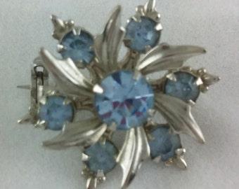 Petite Vintage Blue Rhinestone Flower Brooch Pin