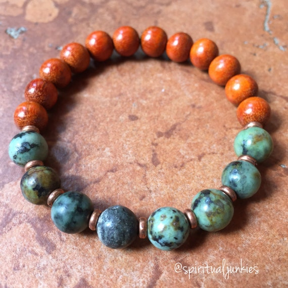 Stackable Mala Inspired Redwood + African Turquoise Passion Yoga and Meditation Bracelet with Copper Spacers