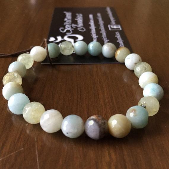 Stackable Mala Inspired Faceted Amazonite + Prehnite Yoga and Meditation Bracelet (single bracelet)