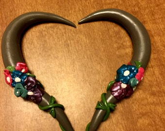 Gray Gauges with Multi-Colored Flowers