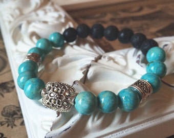 Turquoise Riverstone - Bracelet of Resolution- Stretchy - Essential Oil Diffuse - Lava Bead - Absorb - 7 inch - Silver Tone Personal Celtic