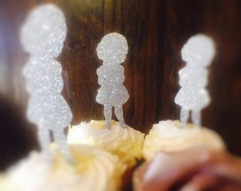 Little Girl Cupcake Toppers - Little Girl Party Decorations - Little Girl Party Decor - Little Girl Birthday Party Cake Topper - Custom Made
