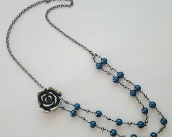 Blue Glass Pearl Double Strand Rose Necklace