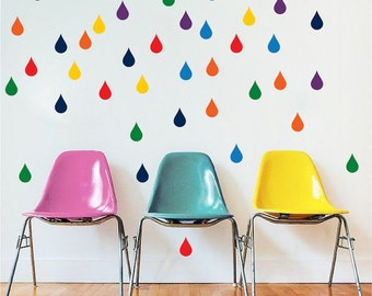 Colorful Raindrops Wall Decal multi color Nursery Raindrops, Rainfall Stickers kids bedroom Raindrops Wall Stickers, Colored Rain, n94
