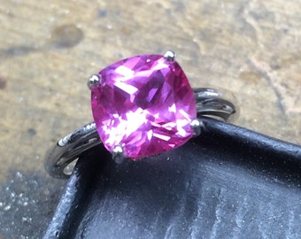 Pink Sapphire Engagement Ring, Cushion Cut Sapphire Ring, Pink Sapphire Ring, Mother's Day, Bridesmaid