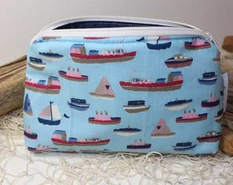 boats makeup bag, cosmetic pouch, toiletry bag, zipper pouch, makeup organize