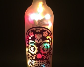Sugar Skull Silhouette Wine Bottle Light (in your color choice)