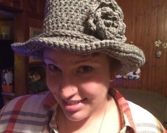 1920's style cloche hat, adult size in grey heather color.