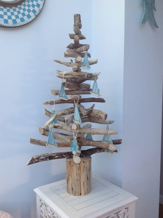 2ft driftwood christmas tree by nevergreentrees on etsy for How to make a hanging driftwood christmas tree