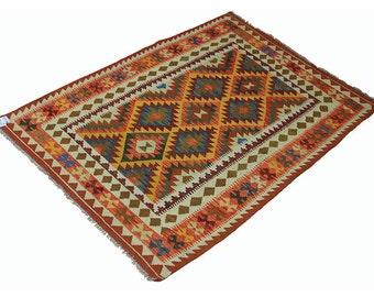 204 x 152 cm  oriental Handmade nomadic chobi kilim from Afghanistan No:67