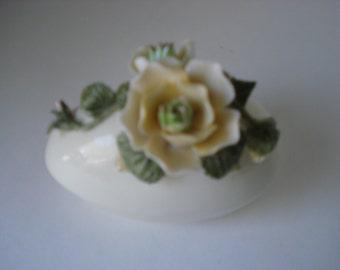 Porcelain Egg Shape Trinket Box with Rose Sprig Top