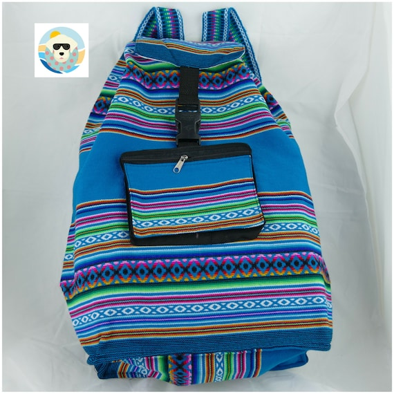 Turquoise Backpack in Manta Fabric Great Capacity, Expandable, Resistant and Light Weight Unisex