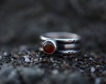 Carnelian and sterling silver band