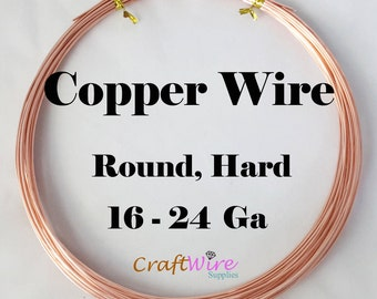 Pure Copper Wire, Round Half Hard 16, 18, 19, 20, 21, 22, 24, Gauge GA 5Ft, 10Ft, 15Ft, 25Ft, 50 Feet Great for Crafts and Jewelry Making