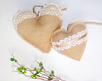 Heart ornament Bulrap hearts  Set of 2