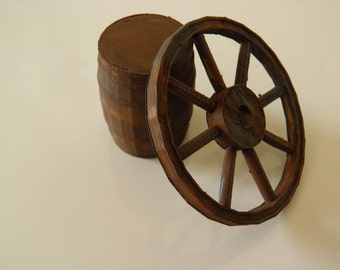 Wagon wheel & Barrel handpainted to look old.
