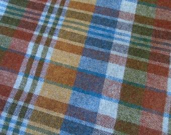 Vintage Wool Plaid Fabric Yardage