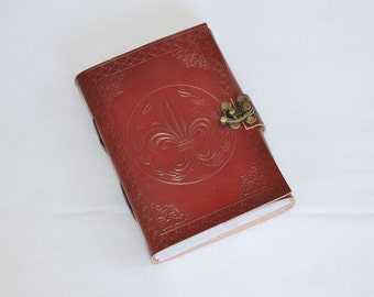 Handmade Fleur De Lis Tooled Leather Blank Journal, Diary, Sketch or Notebook Book