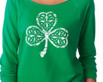 Women's Distressed Vintage Gaelic Shamrock Clover St. Patricks Day Off The Shoulder 3/4 Sleeve Top