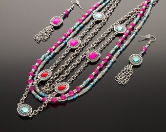 Multi-Layer Pink and Aqua Necklace with Earrings