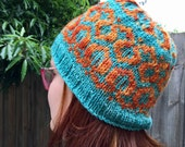 Hand dyed wool/ Fairisle beanie/ hand knitted hat/ winter hat/ small to medium/ adult hat
