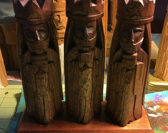 """Tres Reyes Magos (Three wise men) Traditional finish hand carved 6"""""""