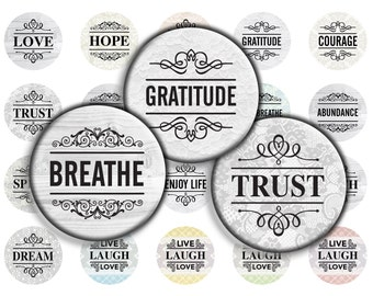 Inspirational Words on Vintage Lace - 30mm, 25mm (1 inch) & 20mm circles - Digital Collage Sheet for Bezel Cabochon Pendants, Scrapbooking