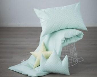 Mint crib bedding – polka dot bedding – pastel baby nursery