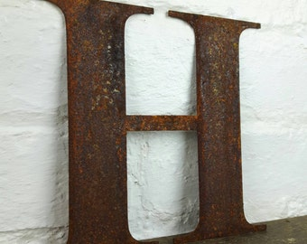Rusted Steel Letter 'H'