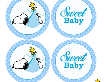 snoopy Baby Shower Cupcake Toppers