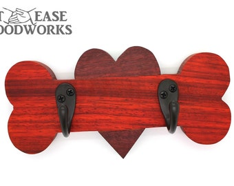 African padauk and purple heart dog leash holder