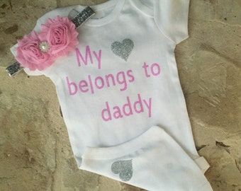 My heart belongs to daddy onesie, pink and silver, hospital outfit, take home outfit, daddy onesie, pink silver my heart belongs to daddy