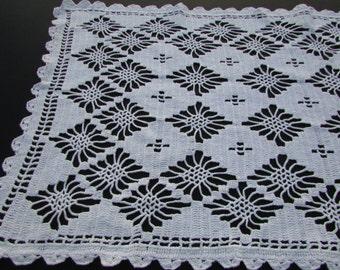 """White Hand Crochet Diamonds Table runner, Dresser Scarf/ Handmade Crochet Dresser Scarf, rectangular Doily, Dresser topper.  13"""" x 27"""""""