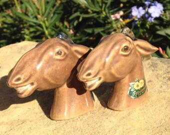 Rosemeade North Dakota Pottery Donkey Heads Pair Salt and Pepper Shakers Vintage
