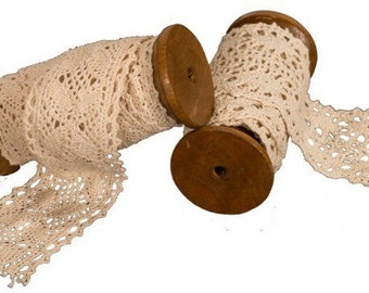 "Cream Lace Ribbon on Wooden Spool 1.5""x70.75"""